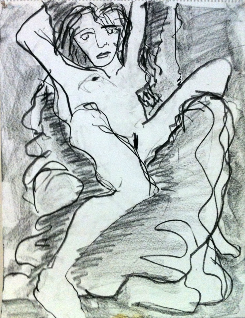 Masha drawing in conté 24 x 18 inches