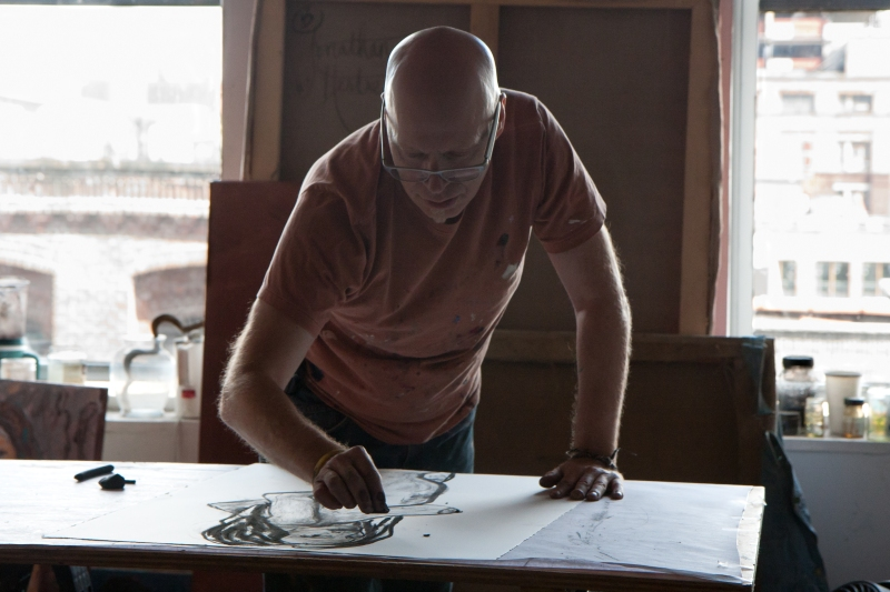 Joanthan Herbert drawing in the Dumbo Studio
